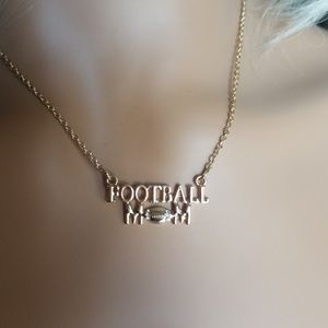 Gold tone Football Mom Necklace